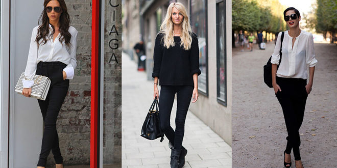 siyah pantolon kombinleri